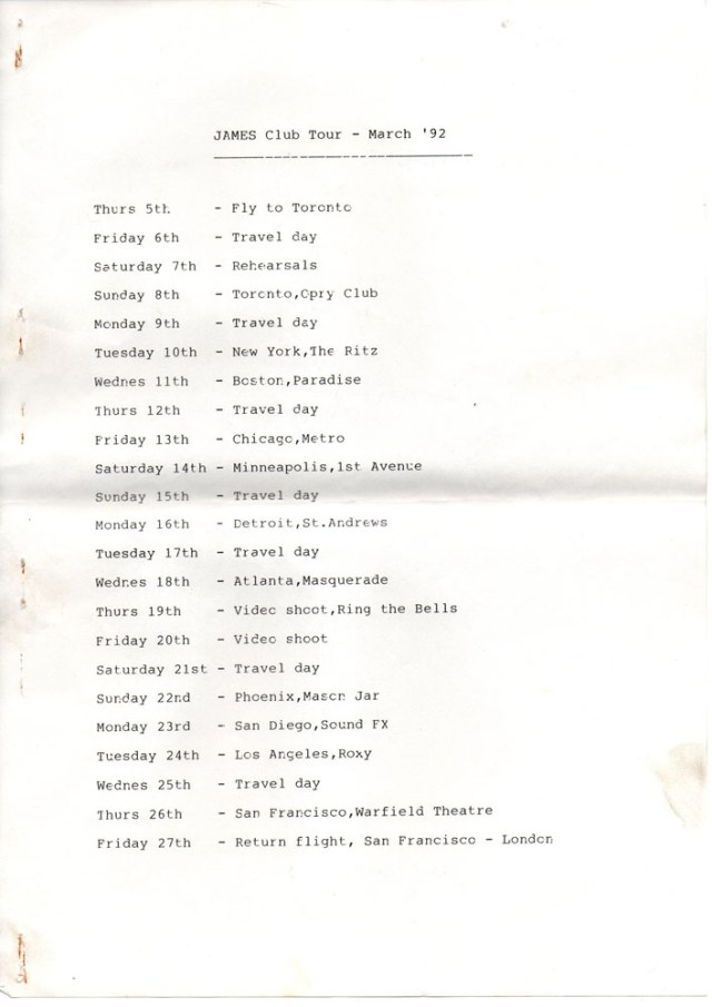Itinerary: 1992 US Club Tour
