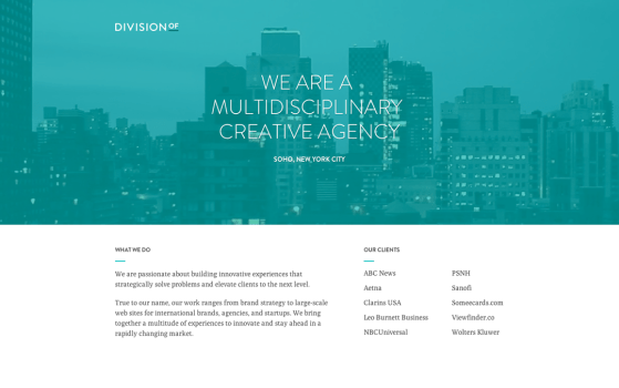 division of one page website