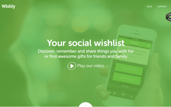 Wishly one page app website