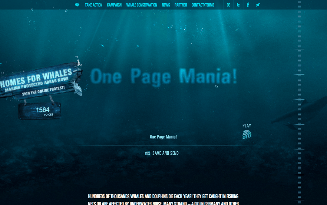 whales love one page websites too!