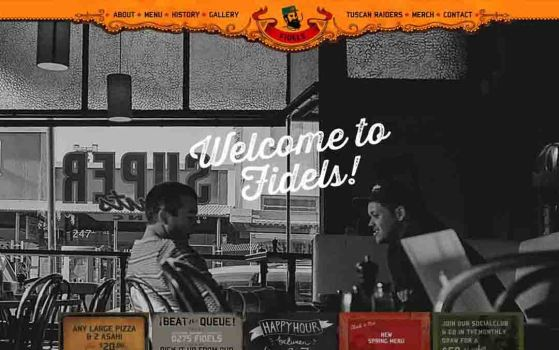 fidels cafe one page websites