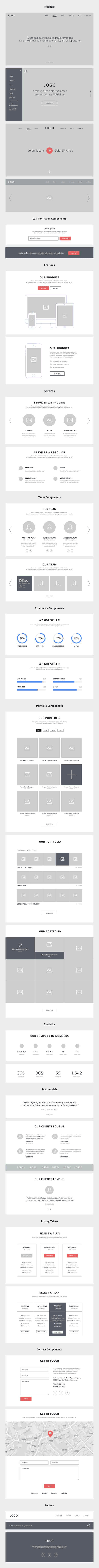 free oe page website wireframes