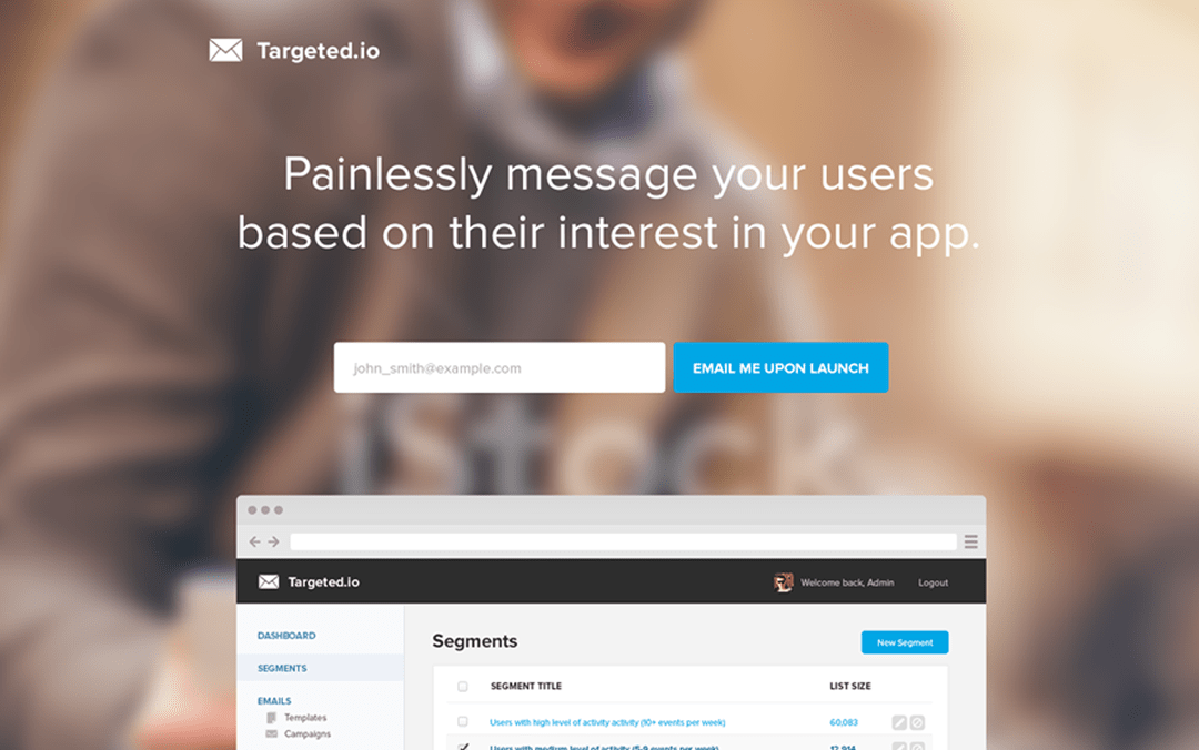 one page email app site
