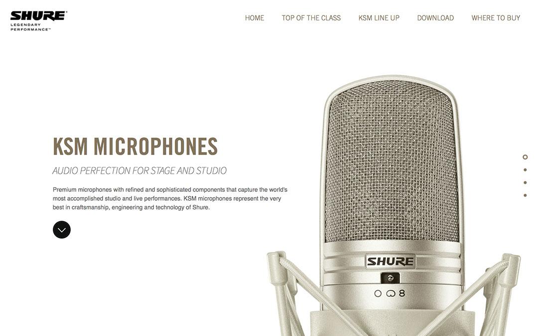 Shure KSM Microphones website