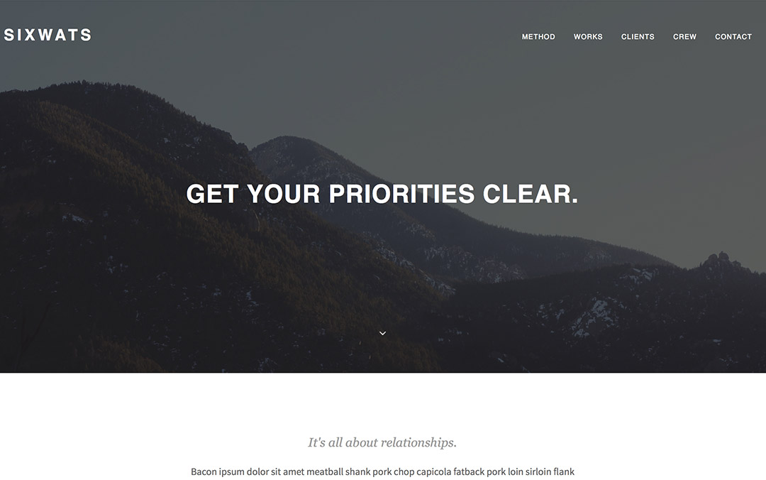 SIXWATS - An Easy To Use Portfolio One Page
