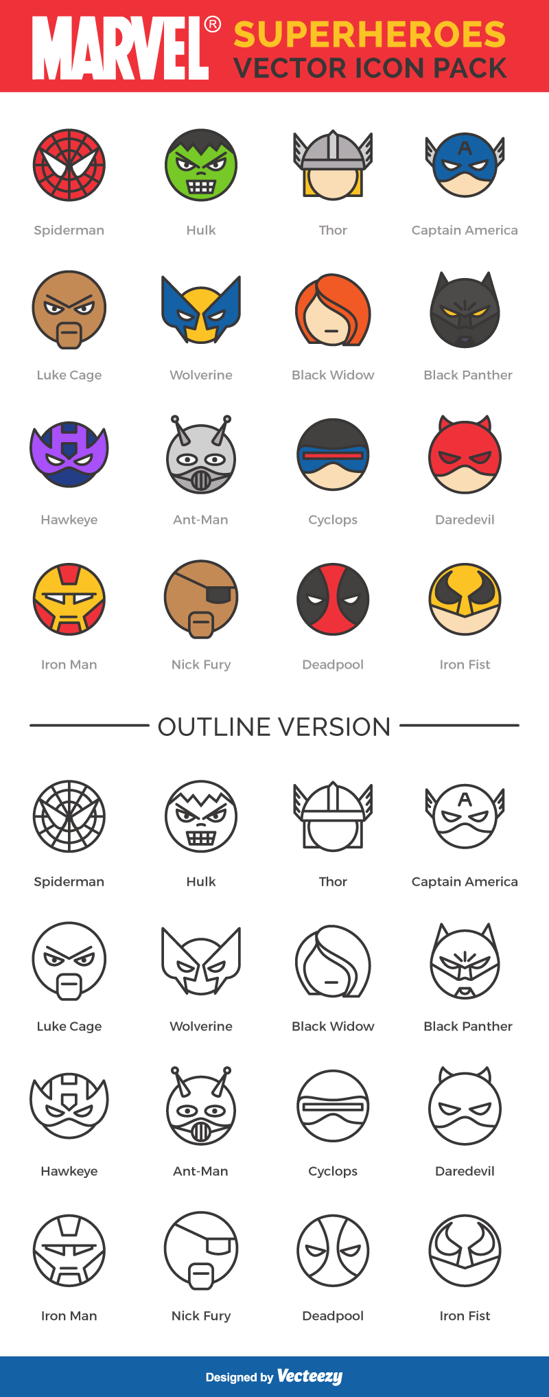 Free Icon Set: Star Wars and Marvel Superheros   One Page