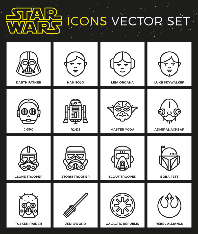 Star Wars flat vector icon set free
