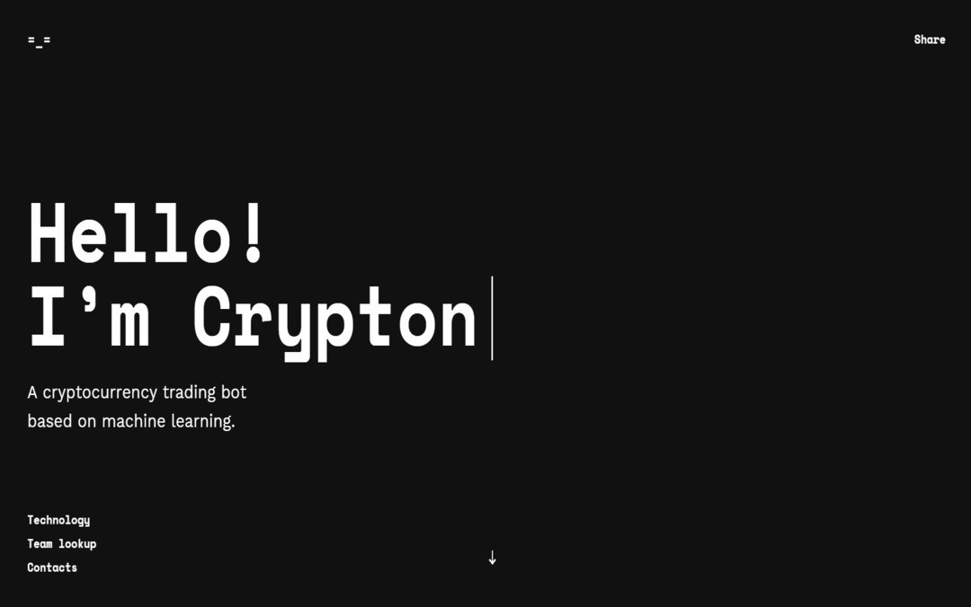 Crypton One Page Website | Cryptocurrency Trading Bot