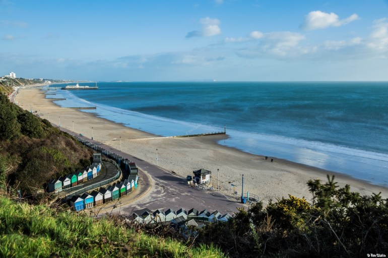 Bournemouth Beach and Pier - Long Exposure on a Sunny Winter Day.