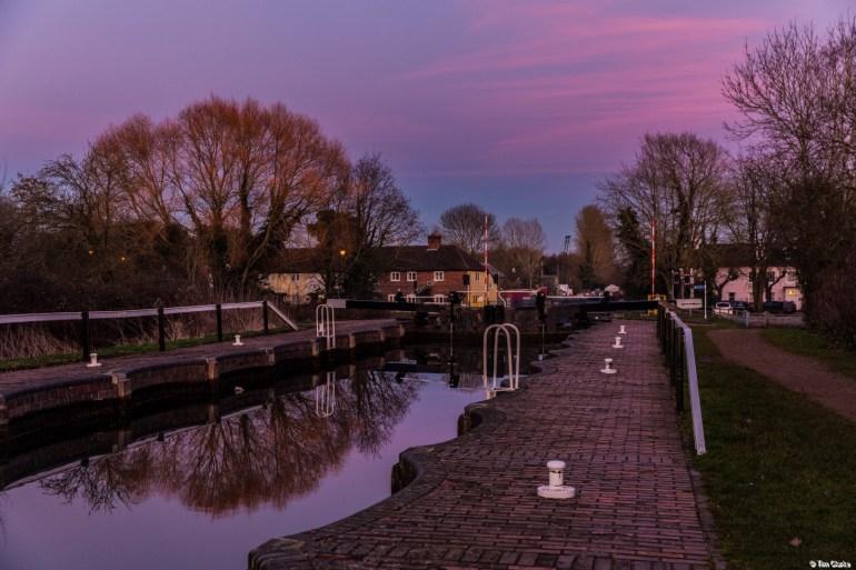 Aldermaston Lock: Sunset and Reflections.