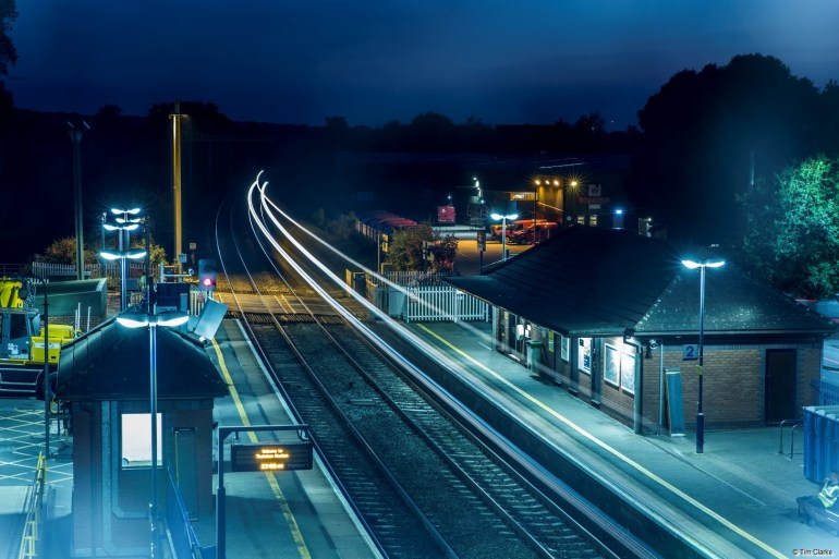 Thatcham Station: Freight Train at Dusk.