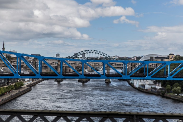 Bridges Across the Tyne: Looking along the river.