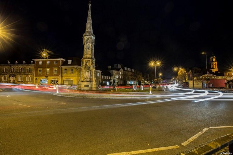 Banbury Cross: Dusk at the Junction.