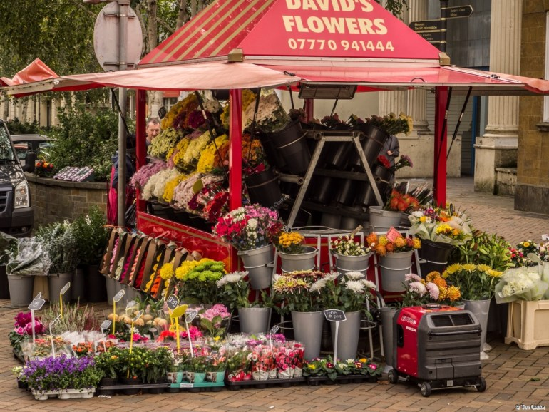Flower Stall: Brightening up an otherwise grey day.