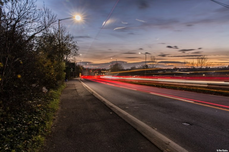 Leicester Road, Rugby: Light trails at dusk.
