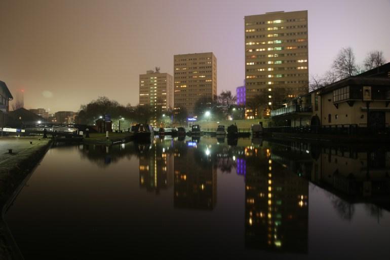 Cambrian Wharf, Birmingham. Reflections at night.