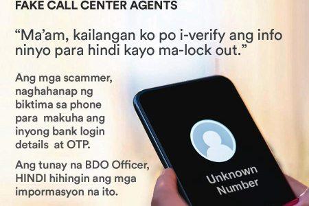 BDO Scam Alert Never share your OTPs