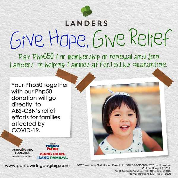 Landers ties up with ABS-CBN Foundation