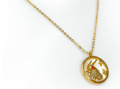 Mikana Constellation Taurus Oushiza 18k Gold Plated Pendant Necklace