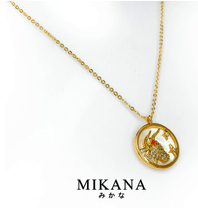 Mikana Constellation Taurus Oushiza 18k Gold Plated Pendant Necklace