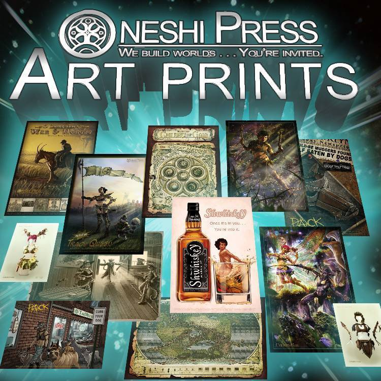 Oneshi Press Art Prints from projects such as PACK comicbook, Tracy Queen, and Children of Gaia