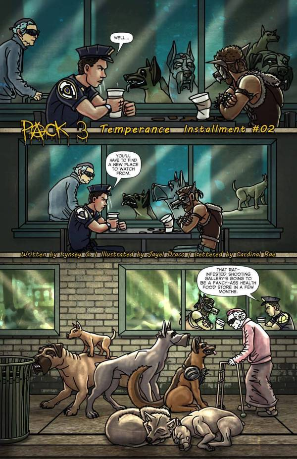 pack coffee shop tarmucks dogs dog pack vigilante cop police lynsey g jayel draco oneshi press justice anthology