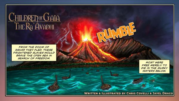 A painting of Tribal refugees braving the tide in an attempt to escape an erupting volcano in their less-than seaworthy vessels from Children of Gaia: the Ra'Avadhi.