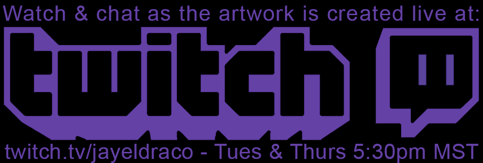 Watch as Jayel Draco live-streams the artwork creation for our projects on Twitch. Don't forget to sign in and join the chat at twitch.tv/jayeldraco