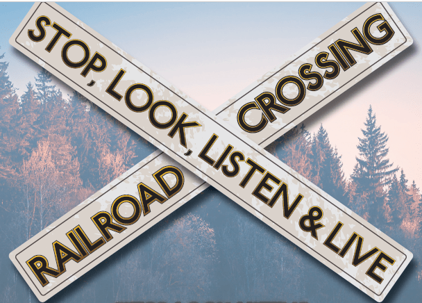 """A graphic depicting a warning sign that reads """"Stop, Look, Listen & Live. Railroad Crossing."""