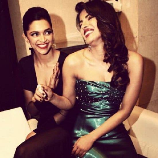 Priyanka Chopra, Deepika Padukone & Ranveer Singh at the Filmfare Awards 2013