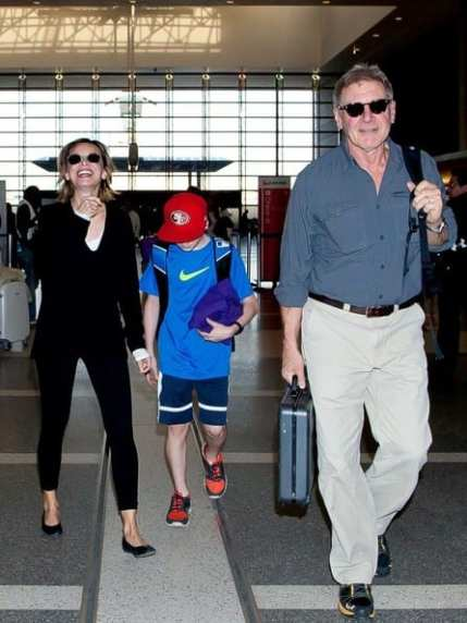 Harrison Ford, Calista Flockhart and their son Liam Ford