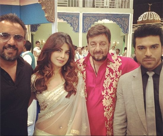 Ram Charan Teja, Priyanka Chopra and Sanjay Dutt On the set of Zanjeer