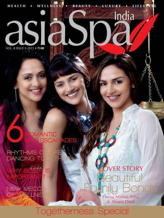 Hema Malini, Esha Deol and Ahana Deol on AsiaSpa Magazine