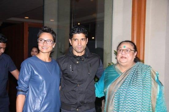 Sonam Kapoor, Farhan Akhtar, Honey Irani and Adhuna Akhtar at the Success Party of Bhaag Milkha Bhaag