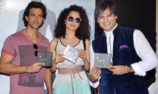 Hrithik Roshan, Kangana Ranaut, Rakesh Roshan and Vivek Oberoi at the Music Launch of Krrish 3