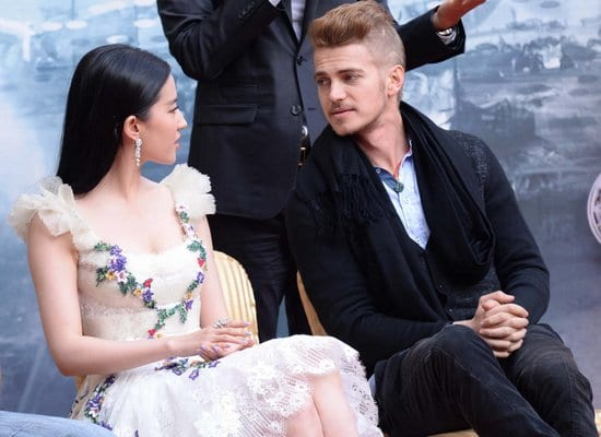 Hayden Christensen, Liu Yifei and Nicolas Cage in Beijing