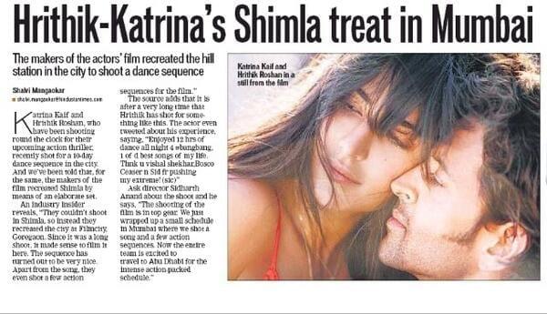 Hrithik Roshan and Katrina Kaif Shoot a Shimla Song for Bang