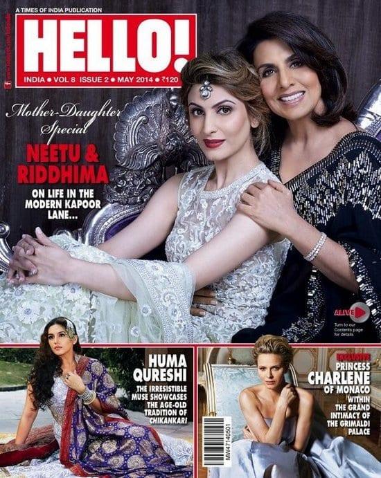 Neetu Singh Kapoor and Riddhima Kapoor Sahni on Hello Magazine