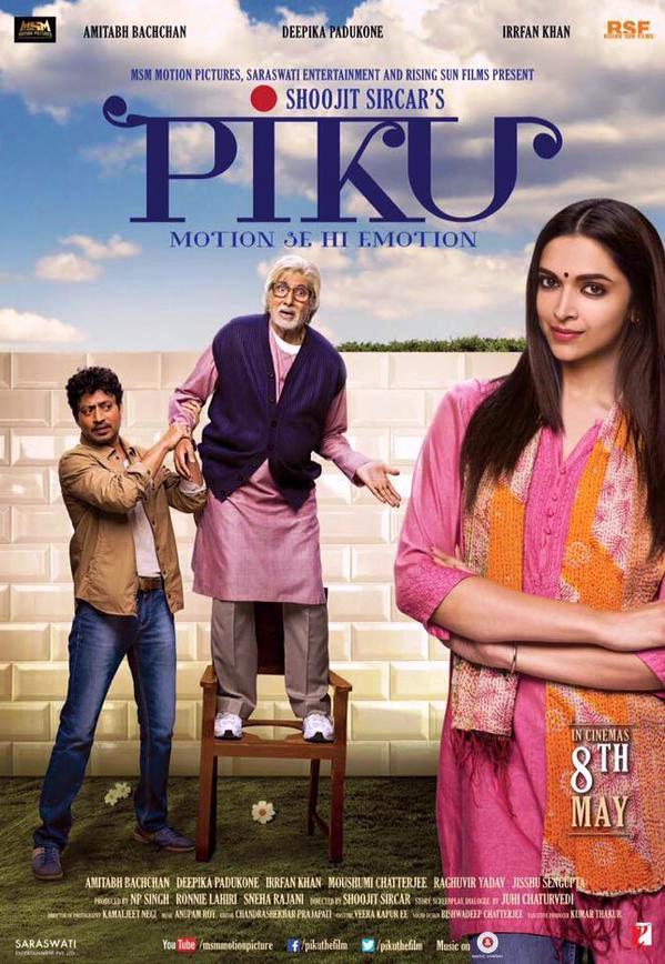 Deepika Padukone, Amitabh Bachchan and Irrfan Khan in Piku