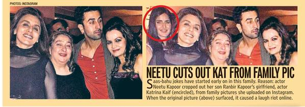 Katrina Kaif on Neetu Kapoor Cutting her out of a Picture she posted on Instagram