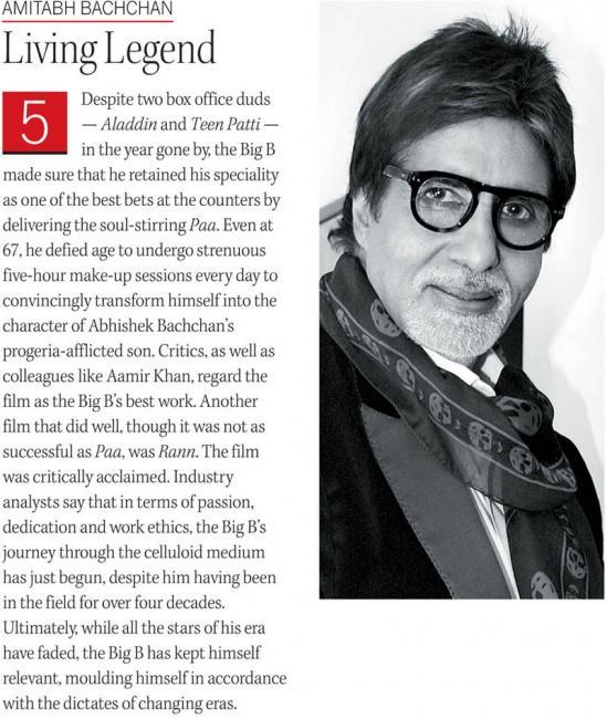 Amitabh Bachchan, Abhishek Bachchan, Shah Rukh Khan, Hrithik Roshan, Aamir Khan, Aishwarya Rai Bachchan, Salman Khan on DNA Top 50 2009
