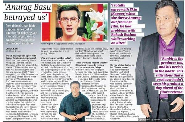 Rishi Kapoor got mad at Anurag Basu for the failure of Jagga Jasoos