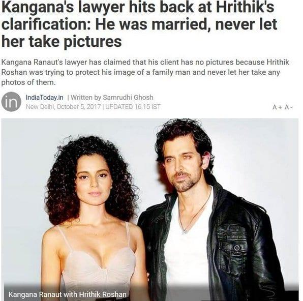 Kangana Ranaut replied back to Hrithik Roshan's statement