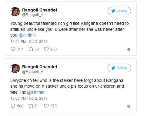 Kangana Ranaut's sister Rangoli slams Hrithik Roshan on Twitter