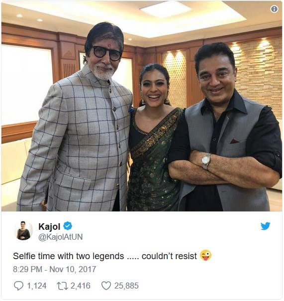 Kajol thinks she took a selfie with two legends