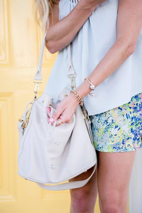 ora delphine white bucket bag-spring floral shorts-dallas fashion blogger