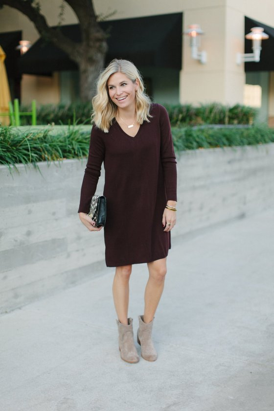 39976ca785a burgundy sweater dress with tan booties-dallas fashion bloggers