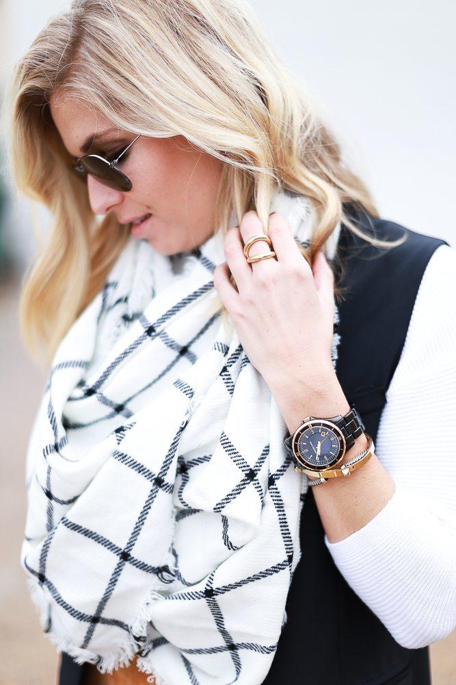black and white windowpane scarf