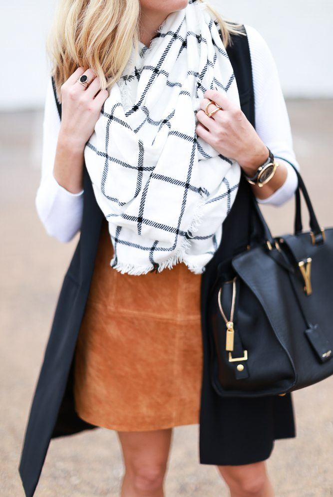 black and white windowpane scarf-suede mini skirt-black long vest