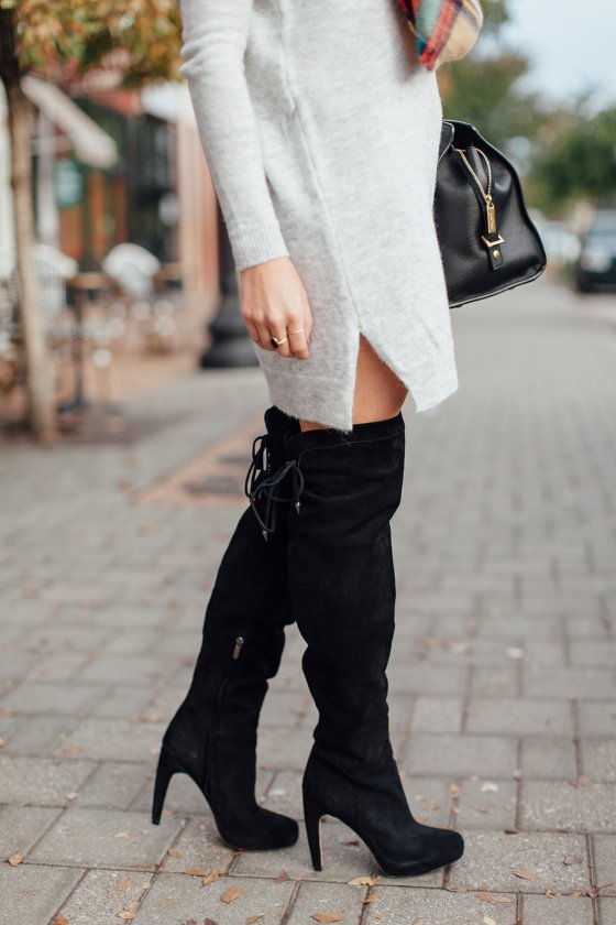 sam edleman kayla over the knee boots-grey sweater dress-black over the knee boots-suede over the knee boots